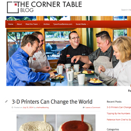 The Corner Table Blog for Tyson Food Service