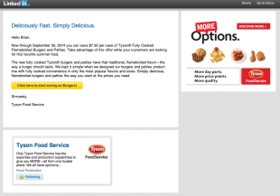 Tyson Food Service LinkedIn In-Mail