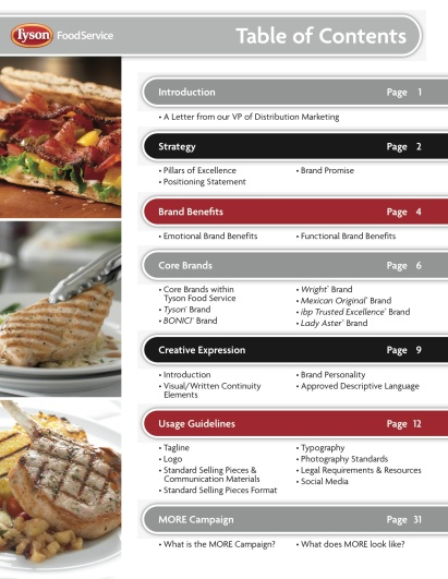 This was the first brand guide produced for Tyson Food Service. It provides guidance for both internal and external parties on usage and expectations of Tyson Food Service's brands.