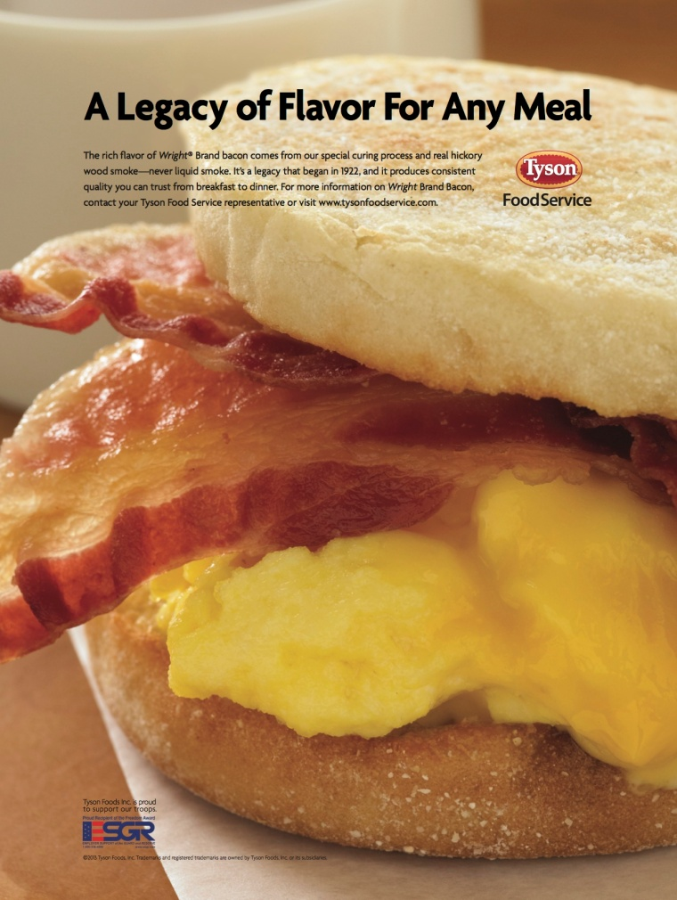 Brand-specific advertising for Wright Brand Bacon.