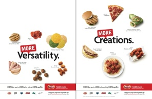 Cover Tip that shows the benefit of the TFS MORE campaign. The first page shows ingredients while the second page shows finished dishes. MORE Versatility leads to MORE Creations.